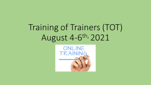 Training of Trainers 2021